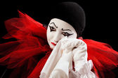 Crying with a handkerchief — Stock Photo