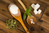 Sugar or stevia — Stock Photo