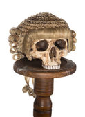 Isolated skull with court wig — Stock Photo