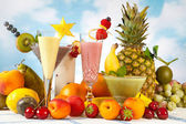 Decorated smoothies — Stock Photo