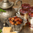 Dates and tea for Ramadan — Stock Photo