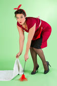 Household chores for pin-up girl — Стоковое фото