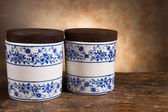 Antique ointment or balm pots — Stockfoto