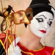 Pierrot with Venice mask — Stock Photo