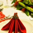 Folded napkins on christmas table — Foto de Stock