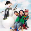 Sledge and snowman fun — Stock fotografie