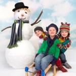 kızak ve kardan adam eğlenceli — Stok fotoğraf