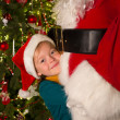 Big hug for santa claus — Stock Photo
