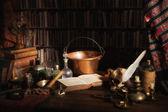 Alchemist kitchen or laboratory — Stock Photo