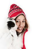 Portrait with a puppy — Stock Photo
