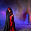 Gothic lady in medieval castle — Stock Photo