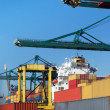 Stock Photo: Cranes loading containers