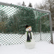 Snowman goalkeeper — Stock Photo