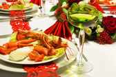 Christmas lobster table — Stock Photo