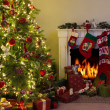 Stock Photo: Fireplace and christmas tree