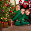 Stockfoto: Three sisters with christmas