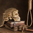 Noose and judge's wig — Stock Photo