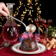 Flames on the christmas pudding — Stock Photo