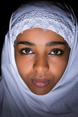 Islamic veiled African woman — Stock Photo