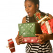 Stock Photo: Christmas presents falling