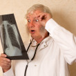 Vintage doctor with X-ray — Stock Photo
