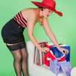 Pinup girl with present — Stock Photo