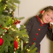 Girl in christmas dress — Stockfoto