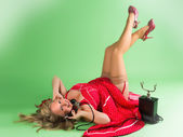 Telephone and pinup legs up — Stock Photo