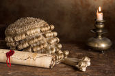 Parchment scroll and judge's wig — Stock Photo