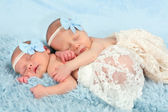 Newborn twin girls — Stock Photo