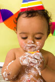 Cake smash closeup — Stock Photo