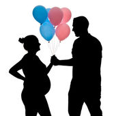 Pregnant silhouette with balloons — Photo