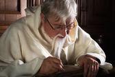 Brodaty mnich z pióro — Zdjęcie stockowe