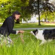 Rope pulling with her dog — Stock Photo #44865613