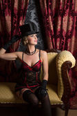 Lady in top hat — Foto Stock