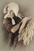 Vintage peasant girl — Stock Photo