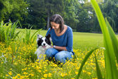 Border collie friendship — Stock Photo