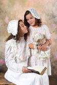 Vintage sisters portrait — Stock Photo