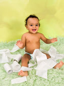 Baby playing with toilet paper — ストック写真