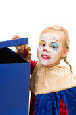 Curious clown with box — Stock Photo