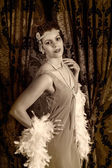 Vintage 1920s woman with boa — Stock Photo