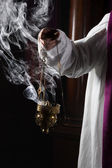 Incense burning in church — Stock Photo