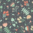 Seamless floral pattern on grey background - Stock Vector