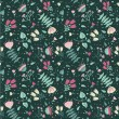 Seamless pattern with cute flowers on dark background - Stock Vector
