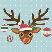 Invitación de Navidad con lindos ciervos — Vector de stock