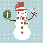 Christmas card with funny snowman with gift and candy — Stock Vector
