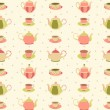Seamless pattern with teapots and cups 1 — Stockvektor
