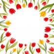Watercolor frame template with tulips 2 — Stock Photo