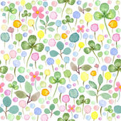 Seamless watercolor pattern with spring flowers and leafs — Stock Photo