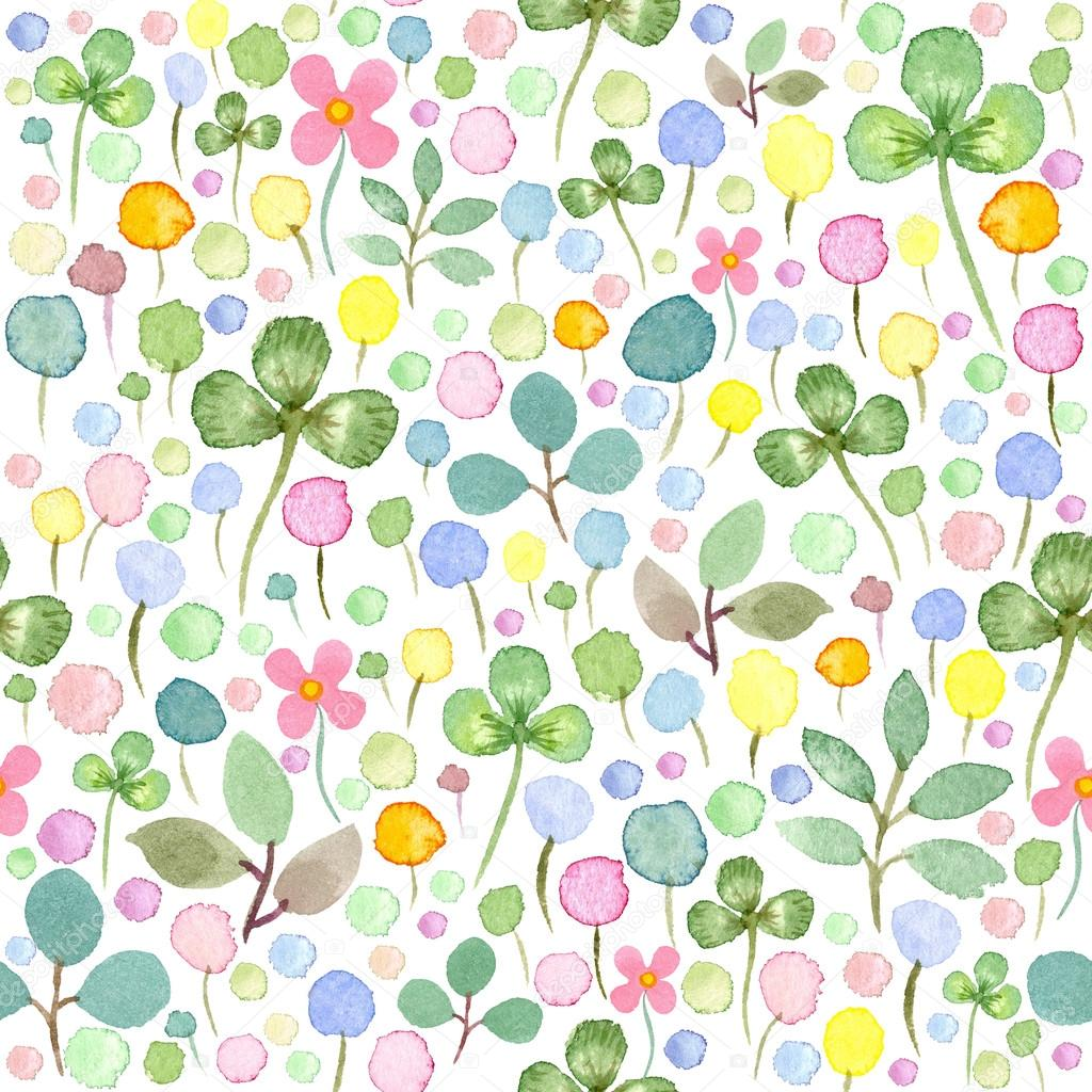 Seamless watercolor pattern with spring flowers and leafs — Stock ...